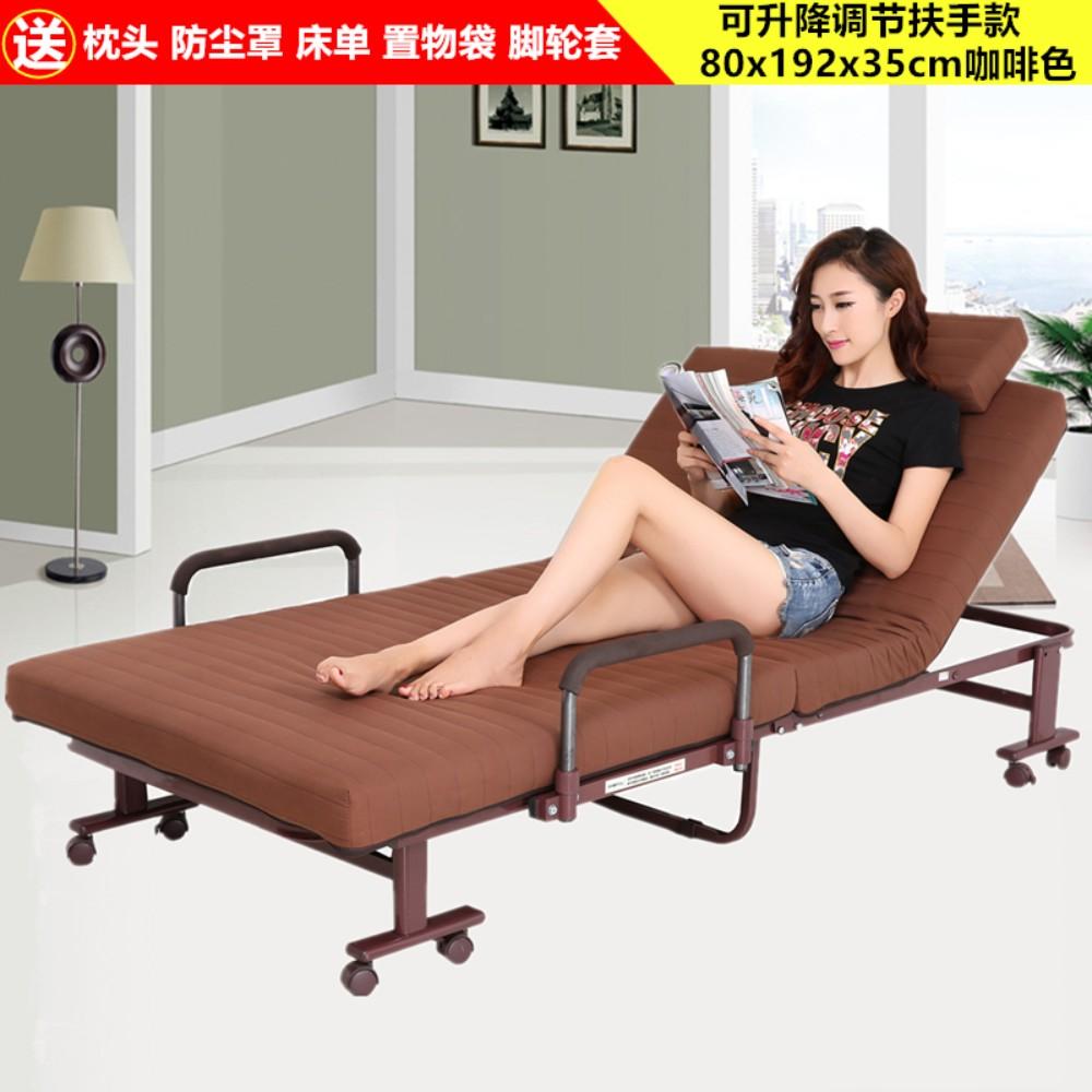 가정용 접이식 이동식 침대 싱글 더블 침대 고시원 사무실 간이 휴식 침대, 리프팅 팔걸이 80x190 브라운