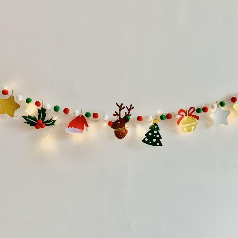 크리스마스 가랜드 파티 분위기 만들기 액세서리 벽걸 백화점 장식 실내 소품 WG20111214Z, 큰 뿔 사슴 보풀 + 램프 꼬치
