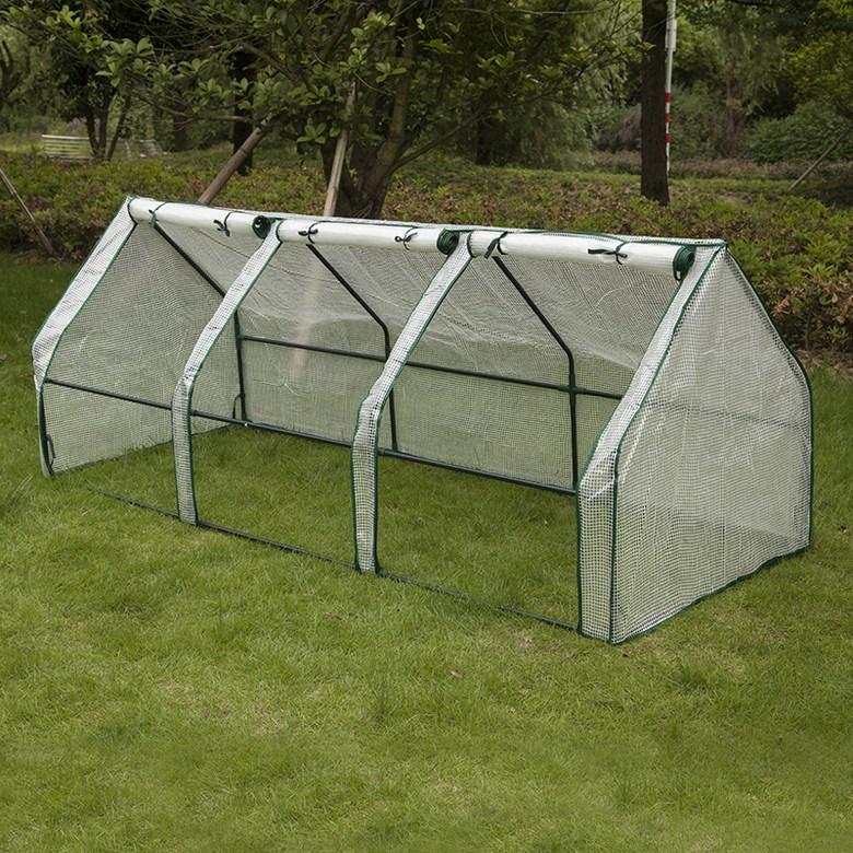 가정 조립식 소형비닐하우스 옥상 베란다 미니 온실, 3개 첨탑 흰색 240x90x90cm