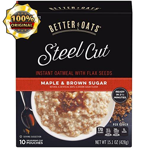 Post Better Oats Steel Cut Instant Oatmeal cups whole grain, Maple Brown Sugar, 15.1 Ounce (Pack of 6)