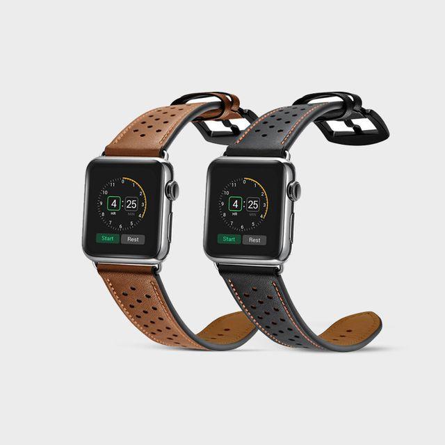 [천삼백케이] [하이가이] 애플워치 5 4 3 2 1 프리미엄 가죽 스트랩, 블랙&카멜