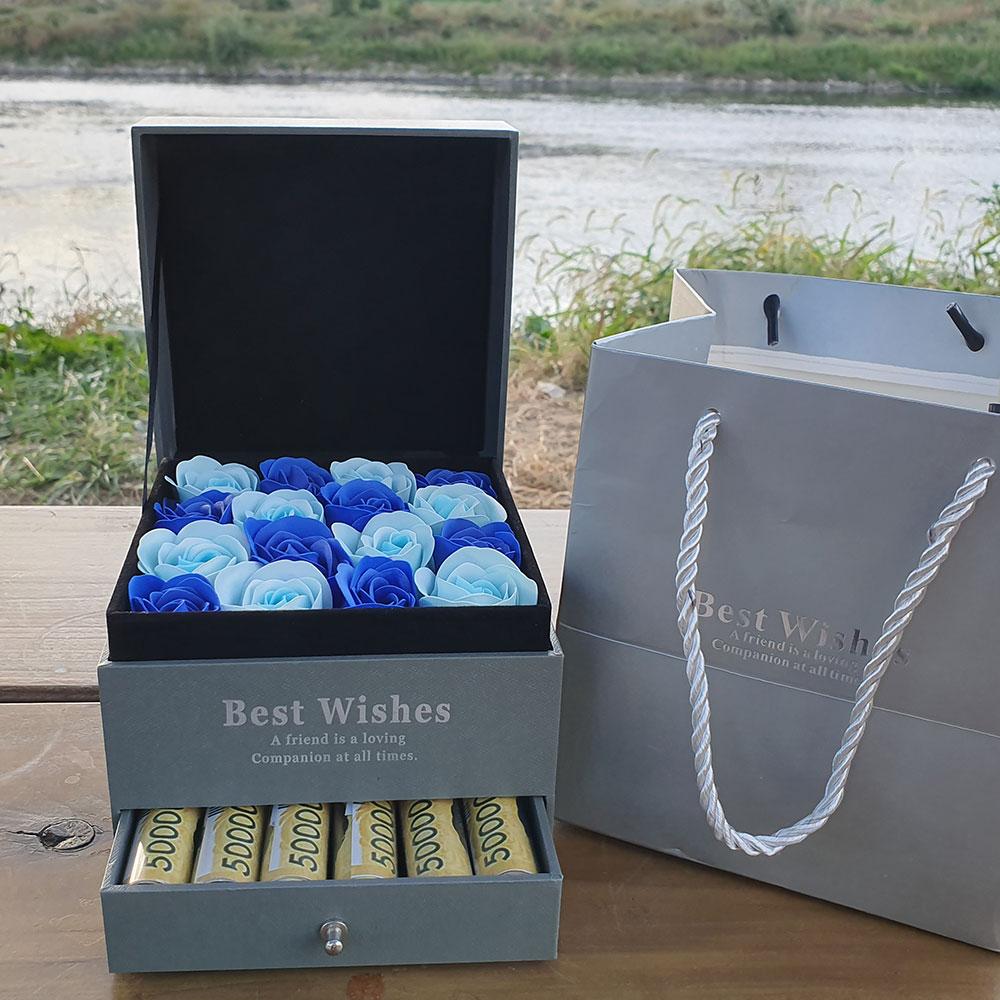 핸디밸리 기념일 생일 용돈박스, 연파랑+파랑 장미박스 (POP 2240438790)