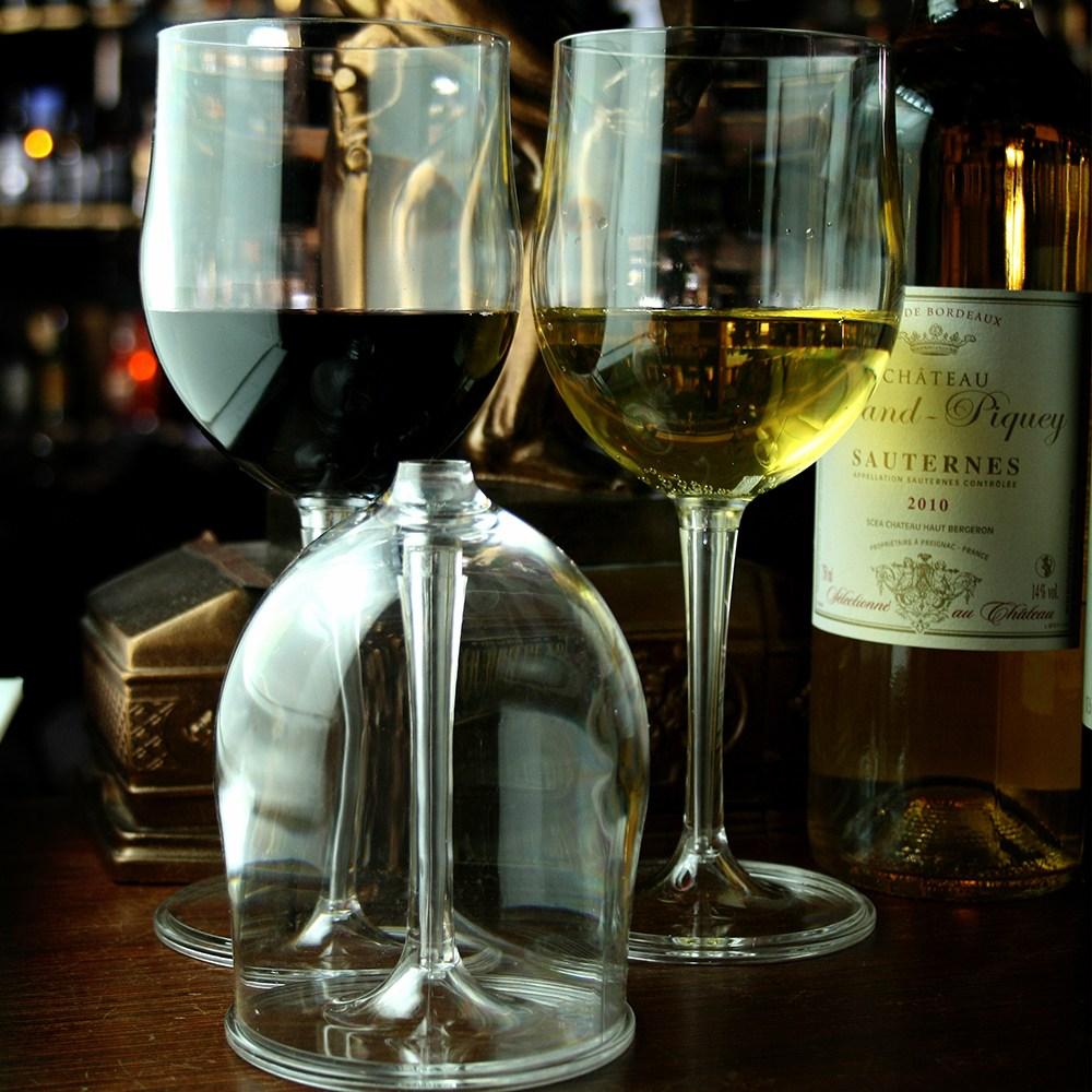 보소코리아 분리형 와인잔2p(컬러투명)+커플 케이스 세트, 1세트, 340ml