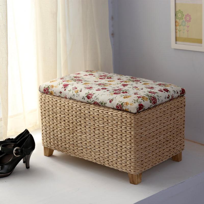 라탄 수납 미니 사각 스툴 1인용 간이 의자, 직사각형 의자