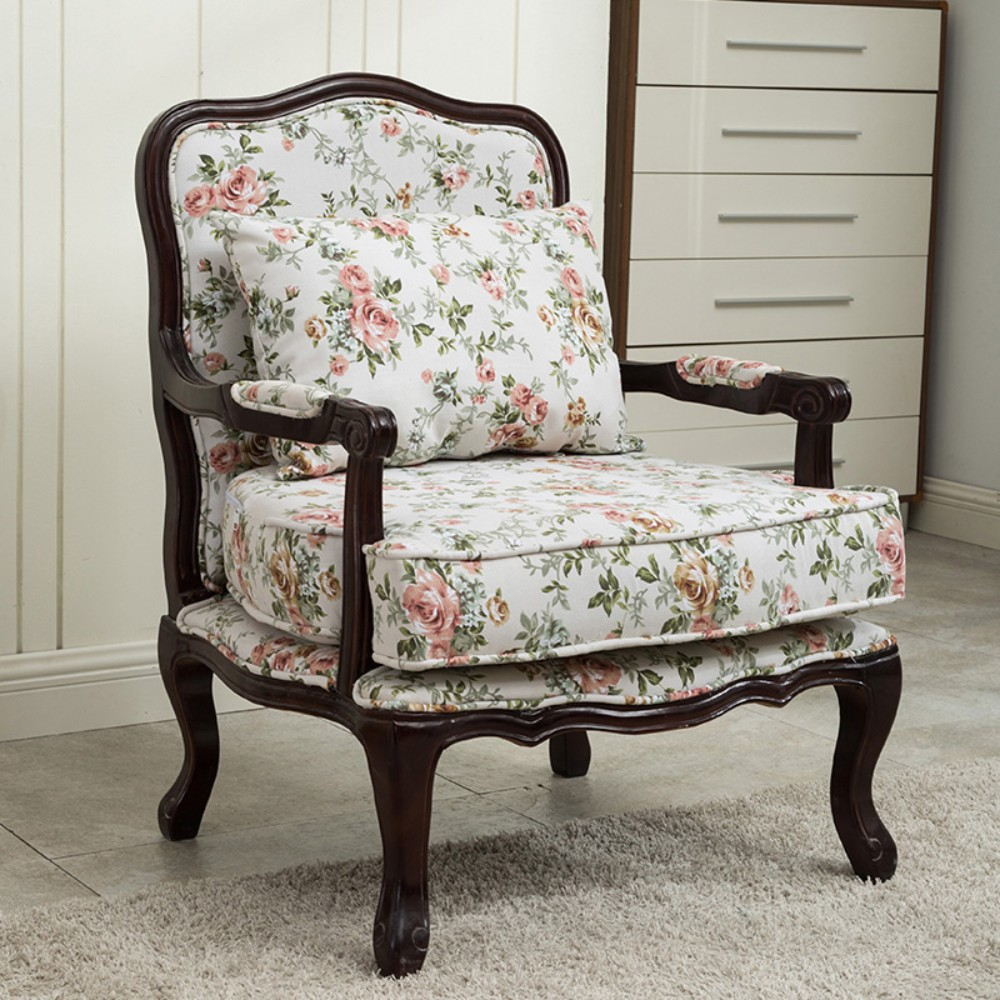 유럽 침실 의자 미국 거실 서재 고풍스러운 패브릭 가죽 앤틱 소파, E