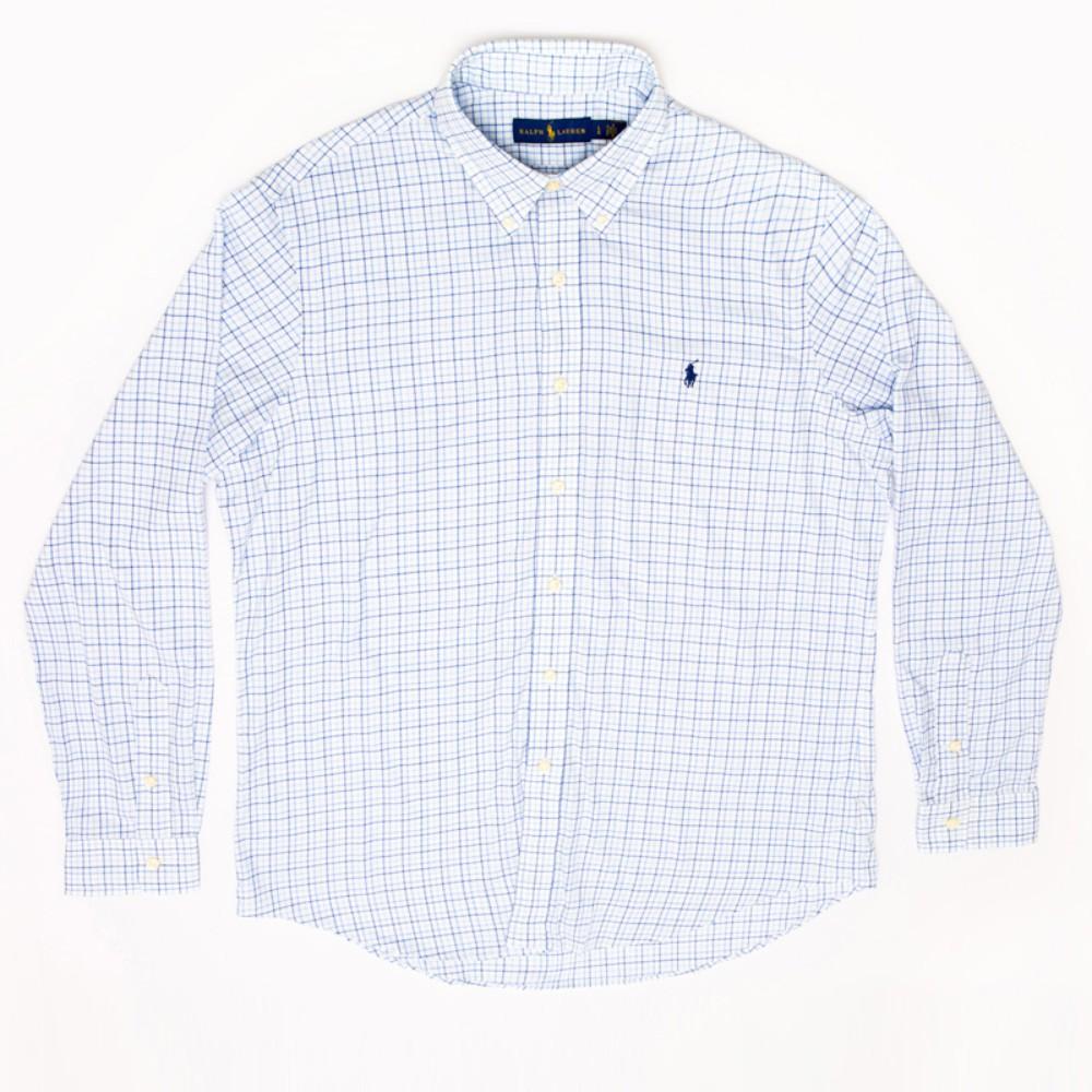 폴로 코튼 박스 셔츠 Urban 캐주얼 스카이 체크 무늬 셔츠