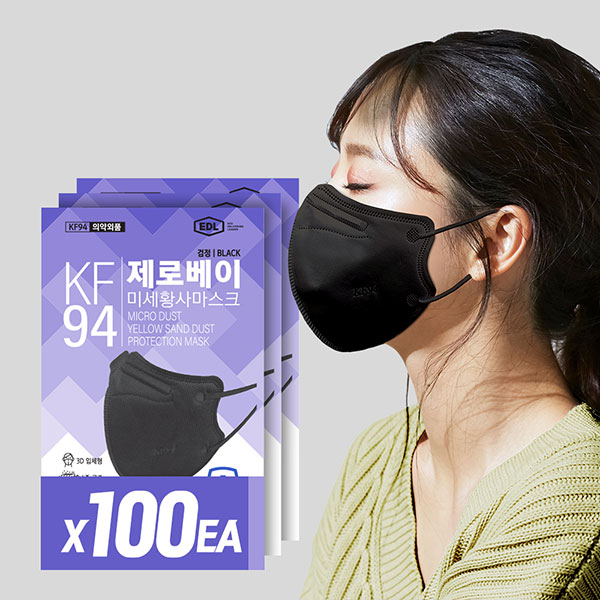 제로베이 KF94 마스크 새부리형 블랙 100매, 단품