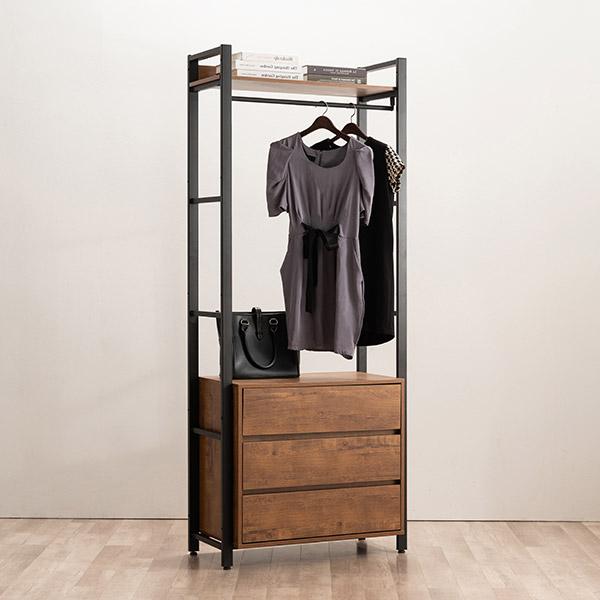 [삼익가구]네시스 시스템 옷장 드레스룸 800 3단 서랍형, 브라운