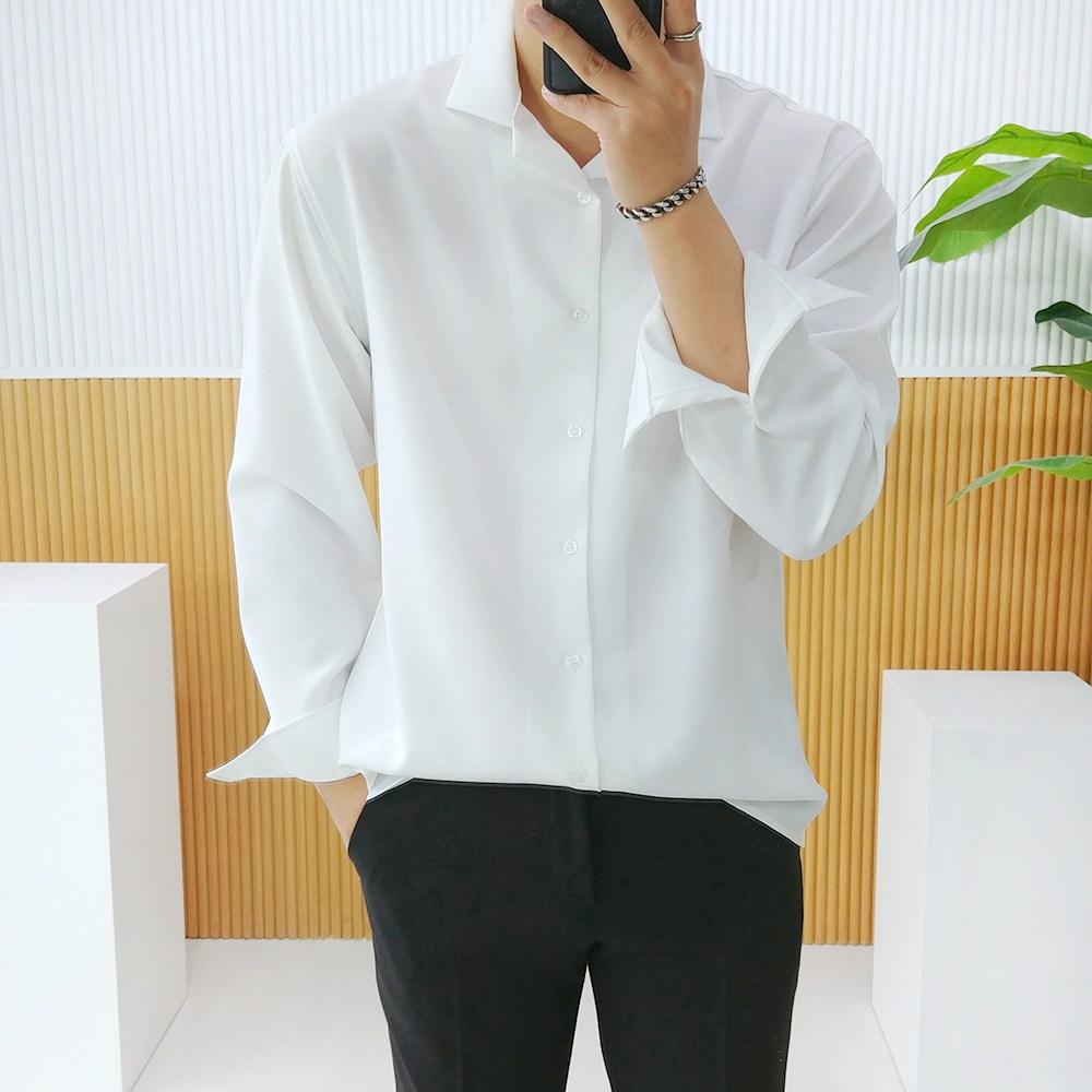 로니제이 남자 오버핏 폴리 스판 구김적은 오픈카라셔츠