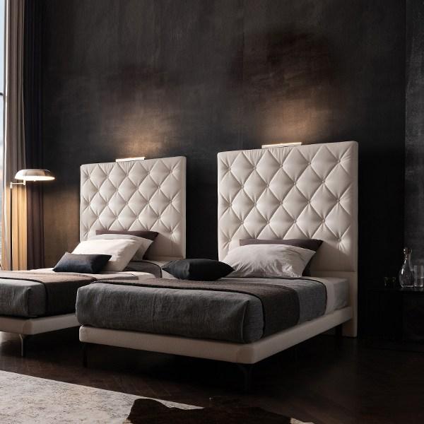 웨스트프롬 모던 브르노 스위트룸 레더 투매트리스 침대(LED센서등 2ea증정), 화이트