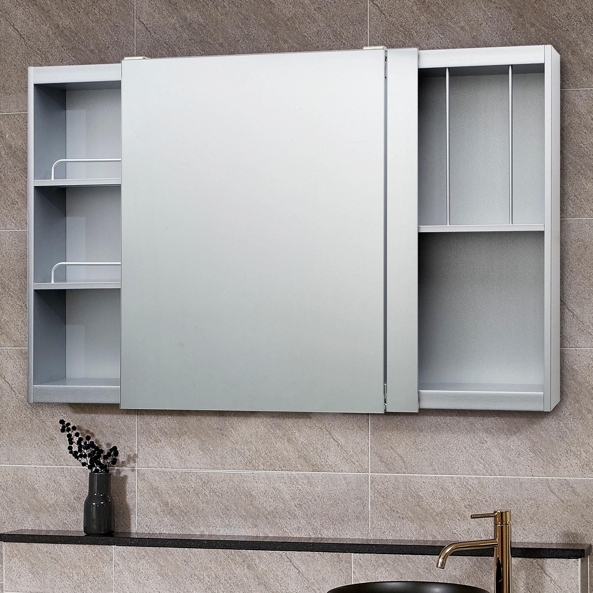 모카 전면 거울 슬라이드 도어 욕실 수납장(1200X800), 실버, 1개
