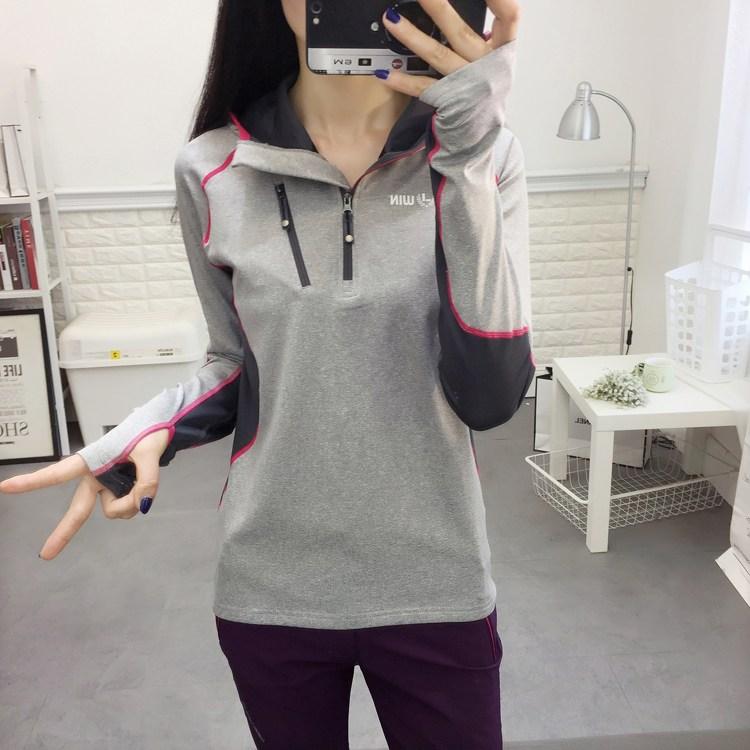 등산용긴팔티셔츠 실외 빠른옷건조 여성긴소매 세트손가락 T봄티셔츠 가을얇은 헬스 후드 풀오버 등산복