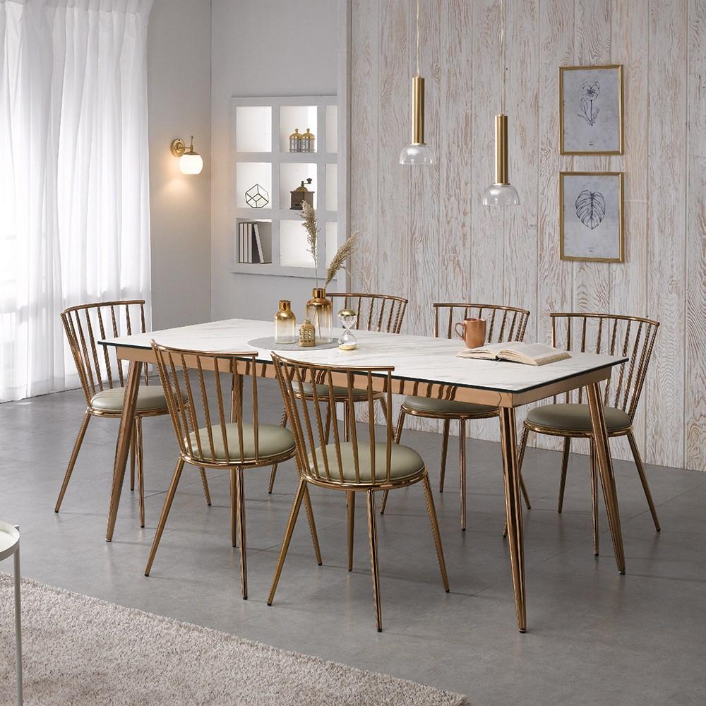 [로드퍼니처] 루나 이태리 세라믹 식탁세트 /4인용/6인용, 1800사이즈-그레이 상판+의자(혼합)