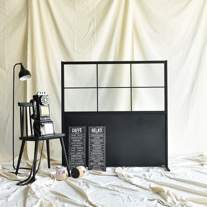 레트로하우스 틴우드 아쿠아유리 철제파티션 1200 (하프), 블랙