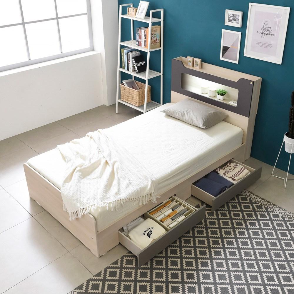 동서가구 스텔라 LED 수납헤드 서랍형 침대 + 매트 세트, 워시그레이