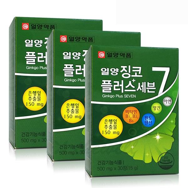 일양약품 징코플러스 은행잎추출물 기억력 혈행개선, 15g, 3개