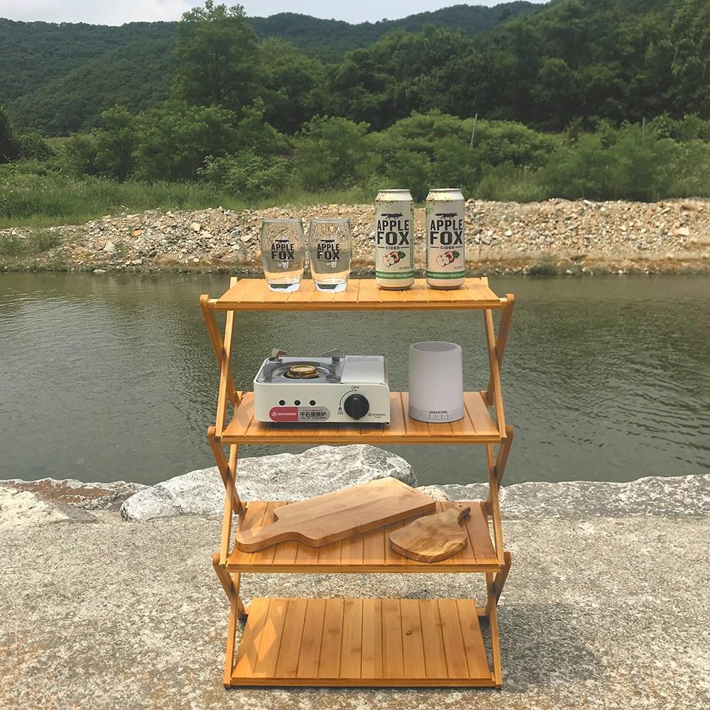 메이리앤 우드 쉘프 접이식 캠핑선반 3단 4단 캠핑 선반, 1개