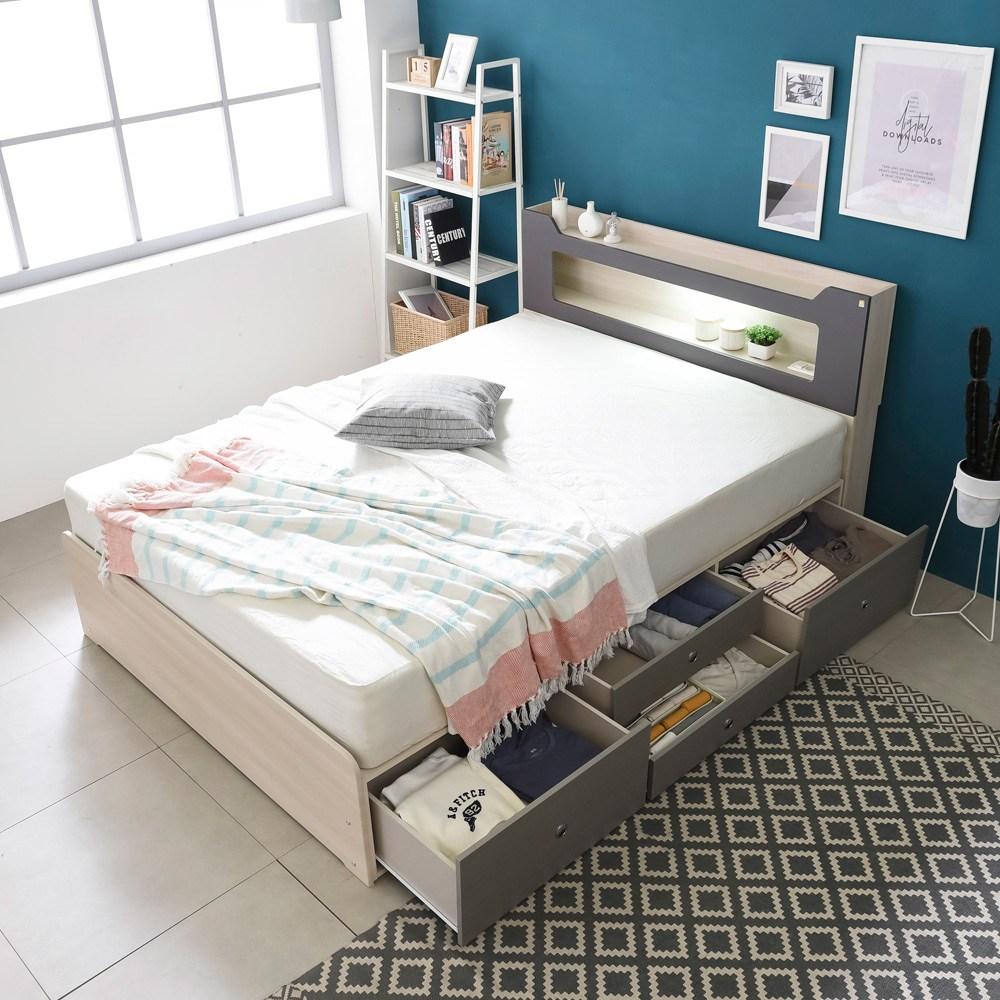 동서가구 스텔라 LED 수납헤드 4서랍 침대 + 컴포트본넬매트 세트, 워시그레이