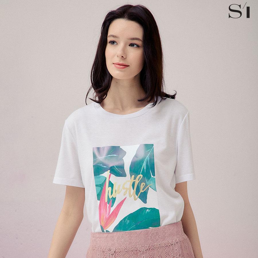 라운드넥 나뭇잎 프린트 반팔 티셔츠 (SAIBF2888)