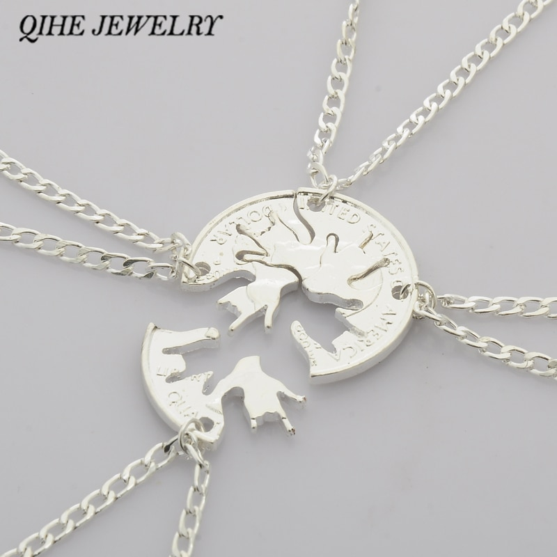 Qihe jewelry 4 개/대 가장 친한 친구 bff 우정 목걸이 나는 당신을 사랑합니다 손 서명 컷 동전 퍼즐 보석 창의력 성격