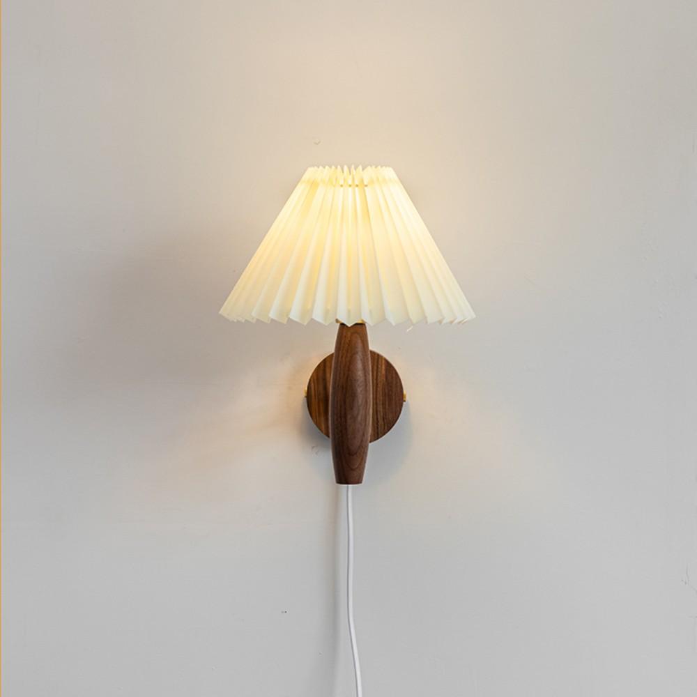 플리츠벽조명 빈티지 주름 벽 램프 라탄 우드 베란다포차 홈포차 인테리어, 월넛 + 베이지 갓 (플러그인 버전)