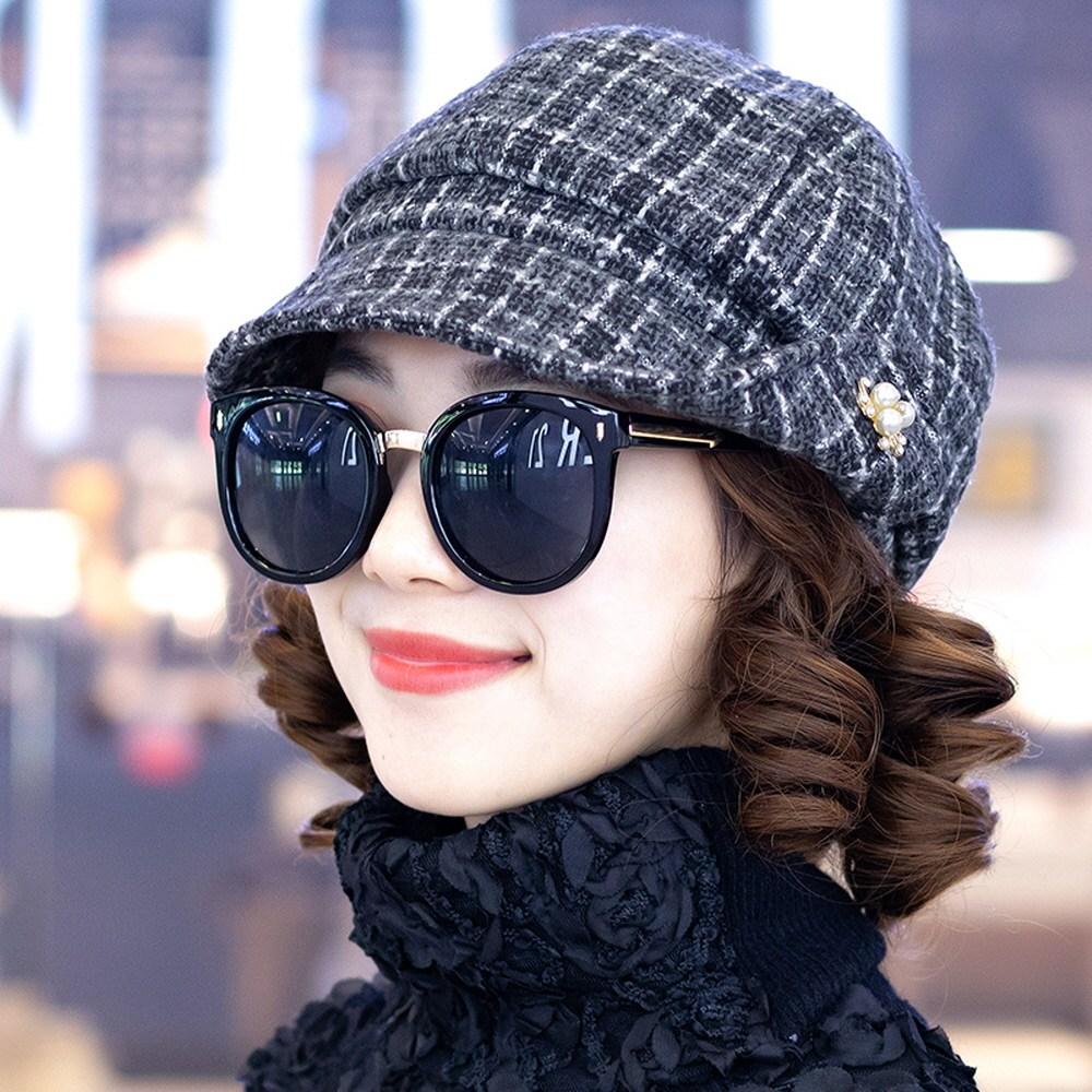 팔각형 모자 50대엄마생일선물 4컬러 검정 커피 카키색 격자 무늬 중년 여성