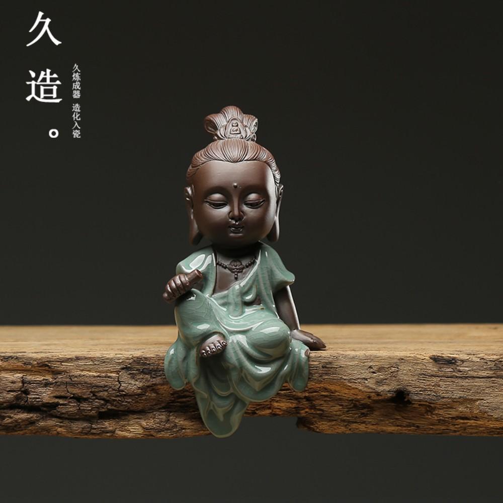 Jiuzao 동자승 작은 스님 액운 기도 마음평화 만수무강 불교용품, Shan Guanyin
