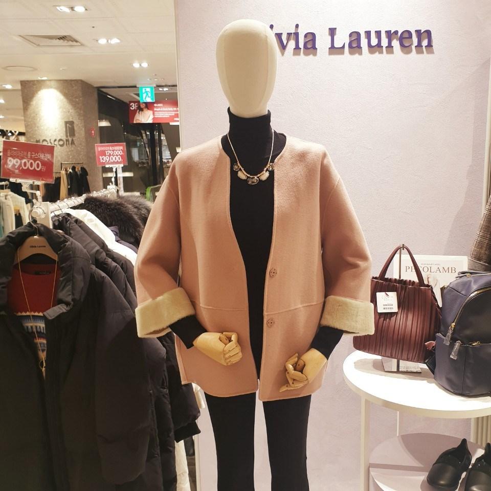 올리비아 로렌 (세일)소매 퍼배색 숏 핸드메이드 모직코트