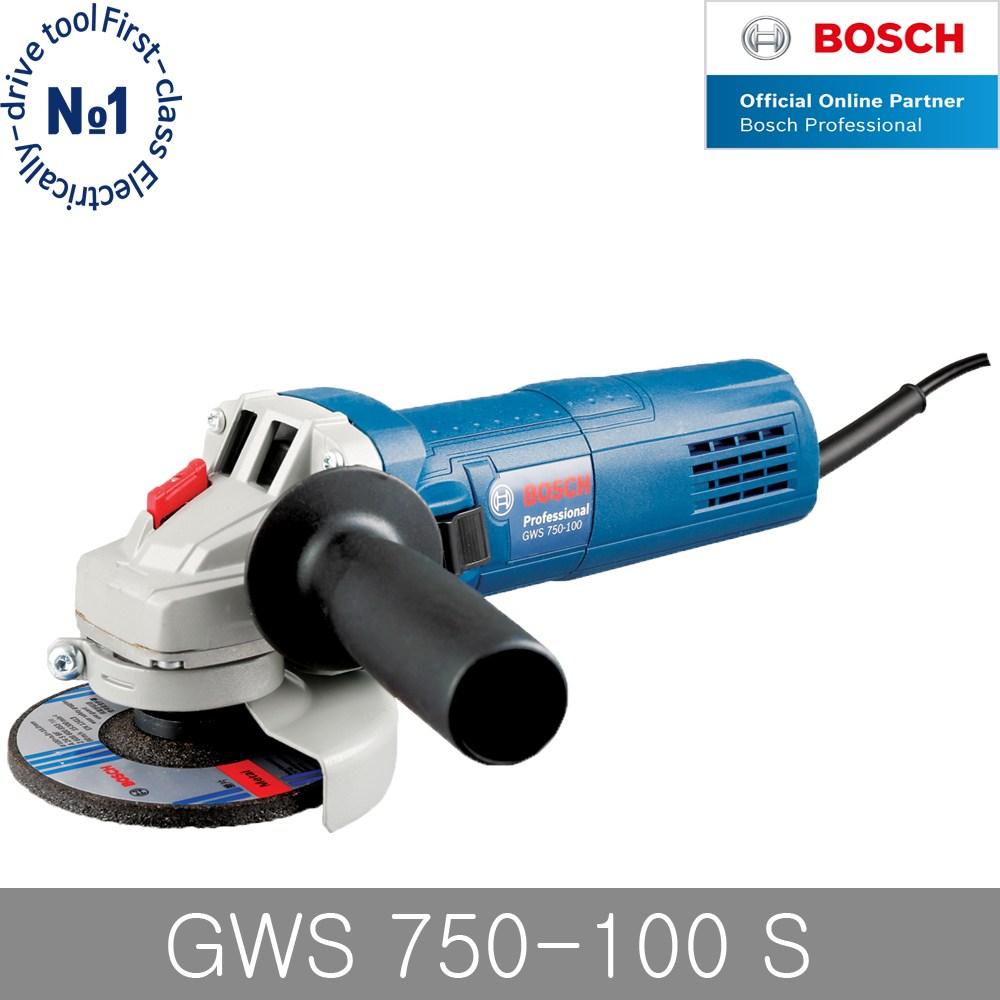 보쉬 GWS750-100S 4인치 그라인더 6단계속도조절 750W, 단품 (POP 4702352479)