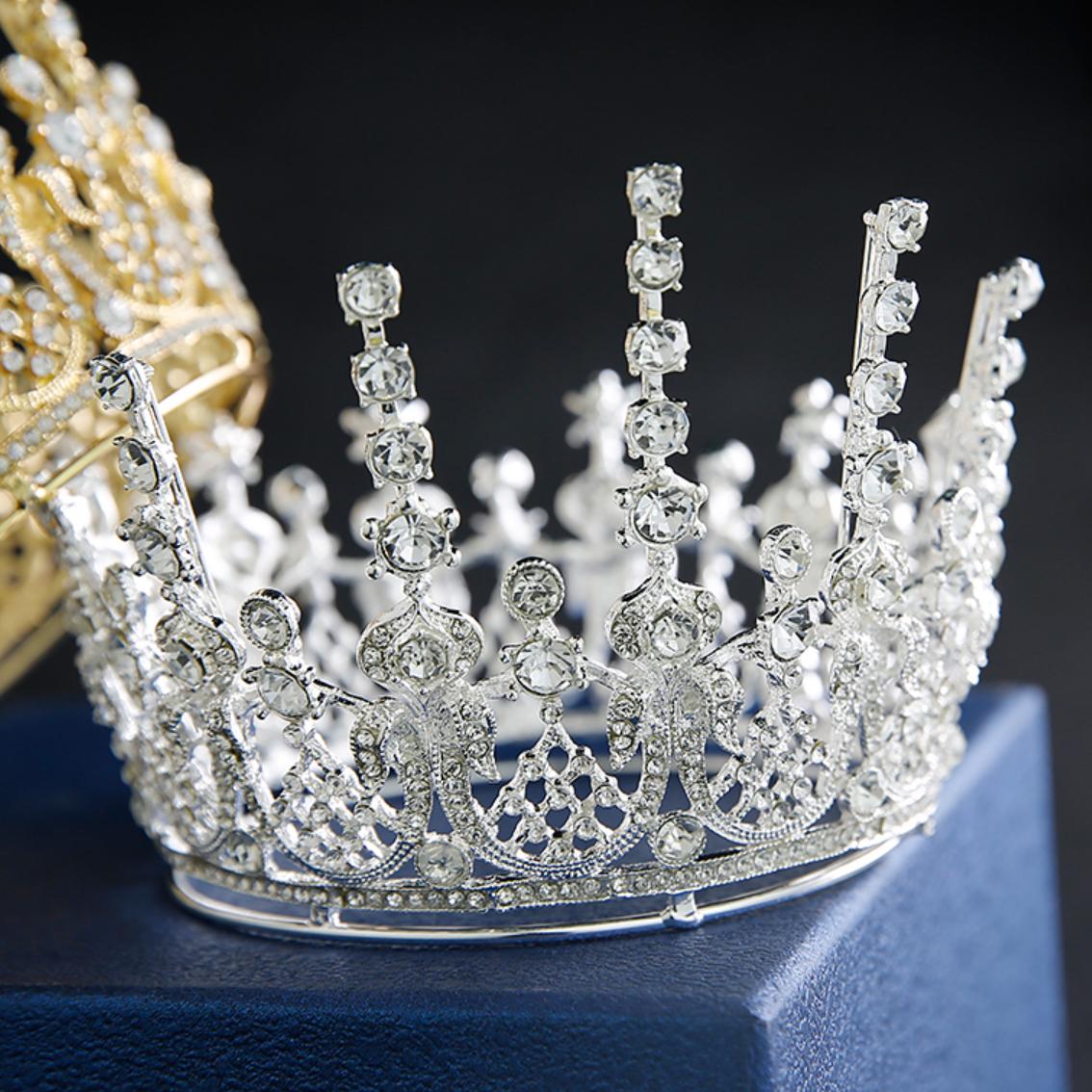티아라 왕관 케이크 셀프웨딩 브라이덜샤워 생일 파티 진주 토퍼 프로포즈 머리띠, 럭셔리 티아라(실버)