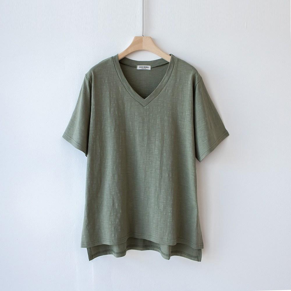 [1+1]코코세븐 데일리룩 슬라브 브이넥 반팔 여자 여름티셔츠