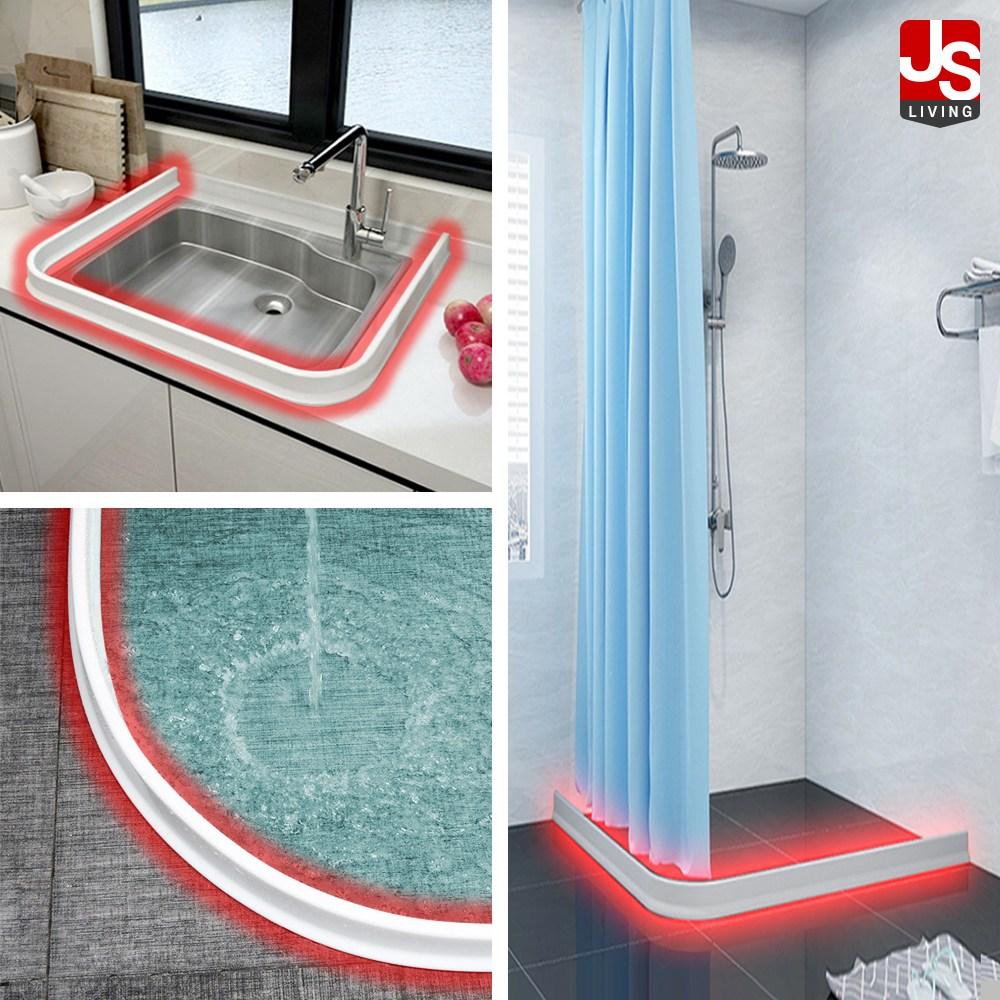 제이에스리빙 싱크대 설거지 욕실 물막이 베란다 물튀김방지 샤워 부스 주방 기름 튀김 물튐방지 실리콘 화장실 물받이 물펜스 가정용 욕조 물넘침 방지 씽크대 가드 1M 2M 3M 4M, 화이트 1M