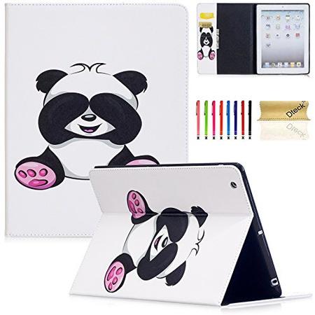 B0756XGDBR 아이패드 2 케이스 아이패드 3 케이스 아이패드 4th 세대 케이스 Dteck PU 가죽 Folio 지갑, 06 Lovely Panda