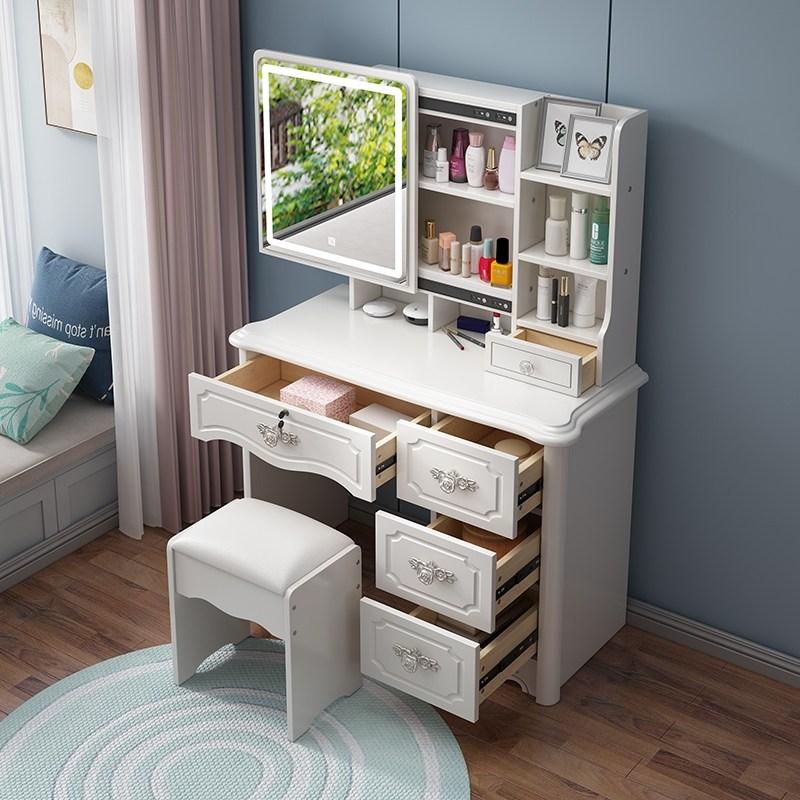 1인 소형 콘솔 화장대 유럽식 드레싱 테이블 침실 간단한 유럽 현대적인 미니멀리스트 작은 아파트 다기능 잠금 드레싱 테이블 스토리지 캐비닛 하나, 어셈블리, 809D 흰색 1m 길이 라이트 오른쪽 드로우 잠