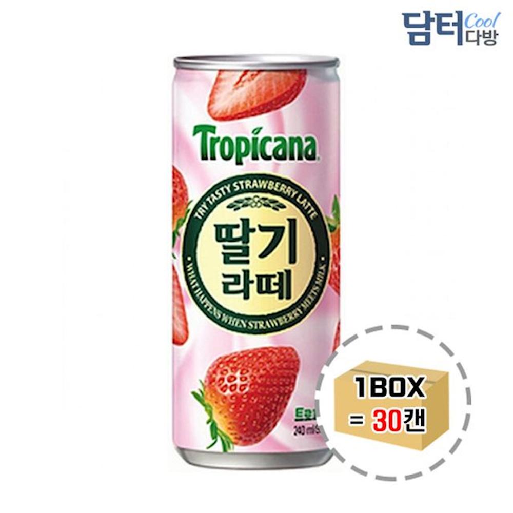 트로피카나 딸기라떼 240ml 30캔 나l 박스 나한 음료 주스 과즙, 1개