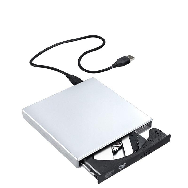 RW DVD-ROM USB 2.0 CD-ROM 플레이어 외부 DVD 광학 드라이브 레코더 노트북 컴퓨터 PC Windows 78, 협동사, 은