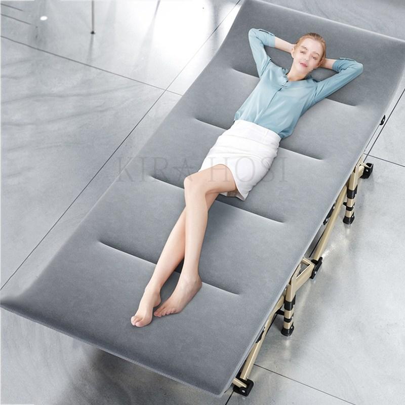 kirahosi 1인 사무실 다기능 간이 접이식 침대 캠핑 의자 고시원 소파 원룸 베드 500 GD9+덧신 증정 Eyq75hx, 그레이C