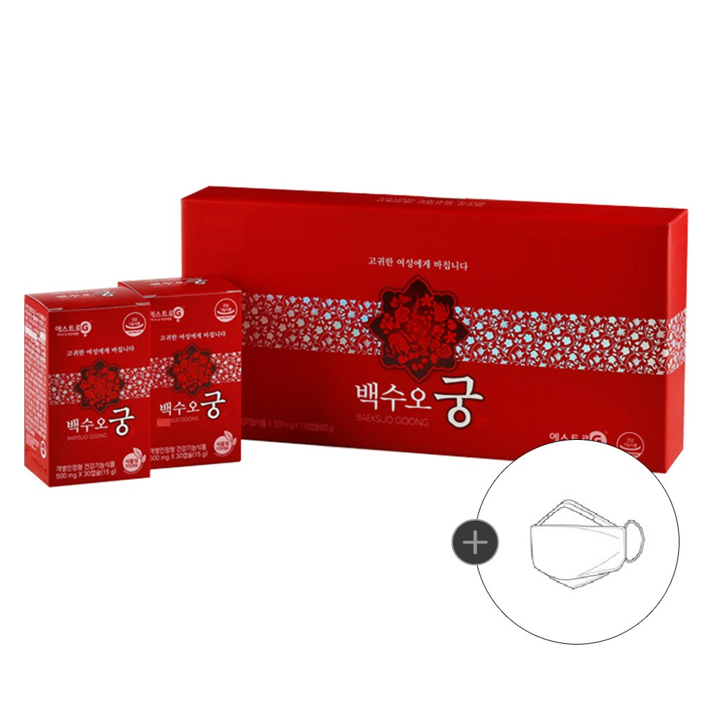백수오궁 1박스 | 1개월분 (에스트로G 갱년기영양제), 500mg, 120캡슐