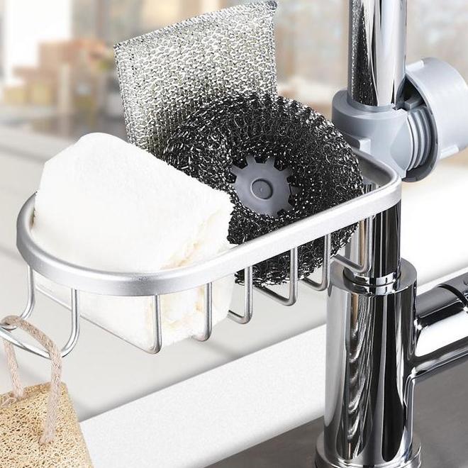 누리 녹슬지 않는 주방 욕실 수세미 거치대 홀더걸이 알루미늄재질 수도꼭지랙, 1개