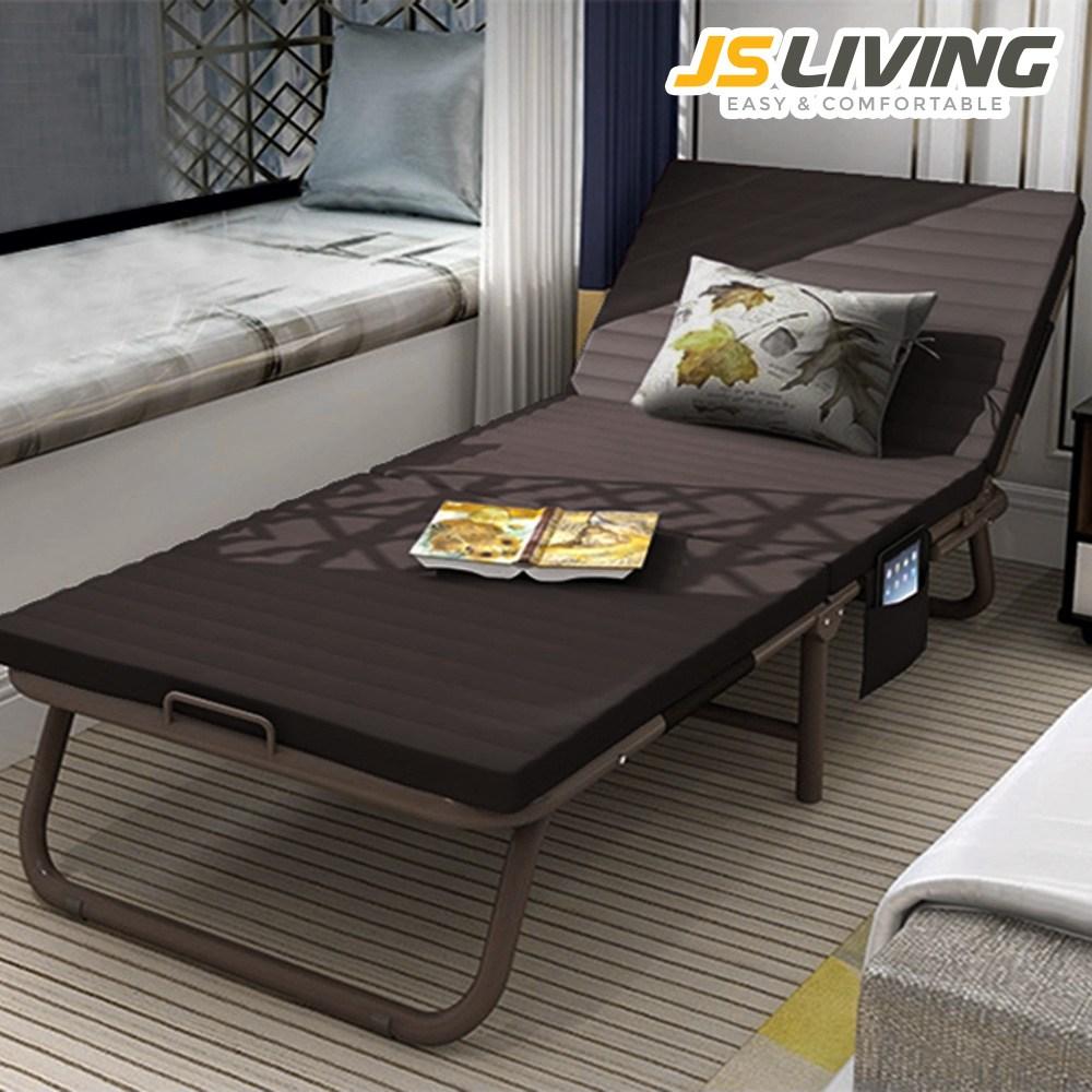 제이에스리빙 접이식 침대 1인용 침대소파 보조 간이 접이식침대, 브라운