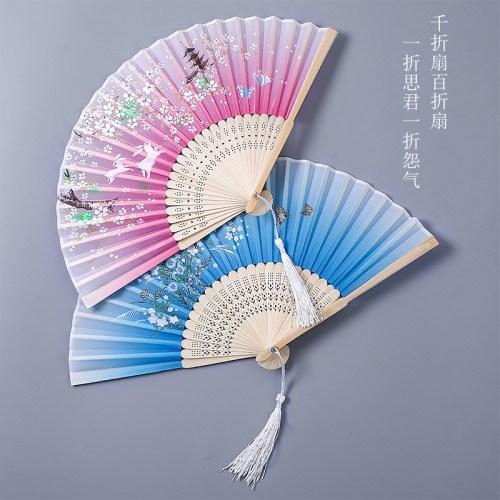 해외 대나무 고풍 작은 접부채 여름 귀요미 고풍 클래식 중국풍 접기-94430, 단일옵션, 03.5호 이지블루
