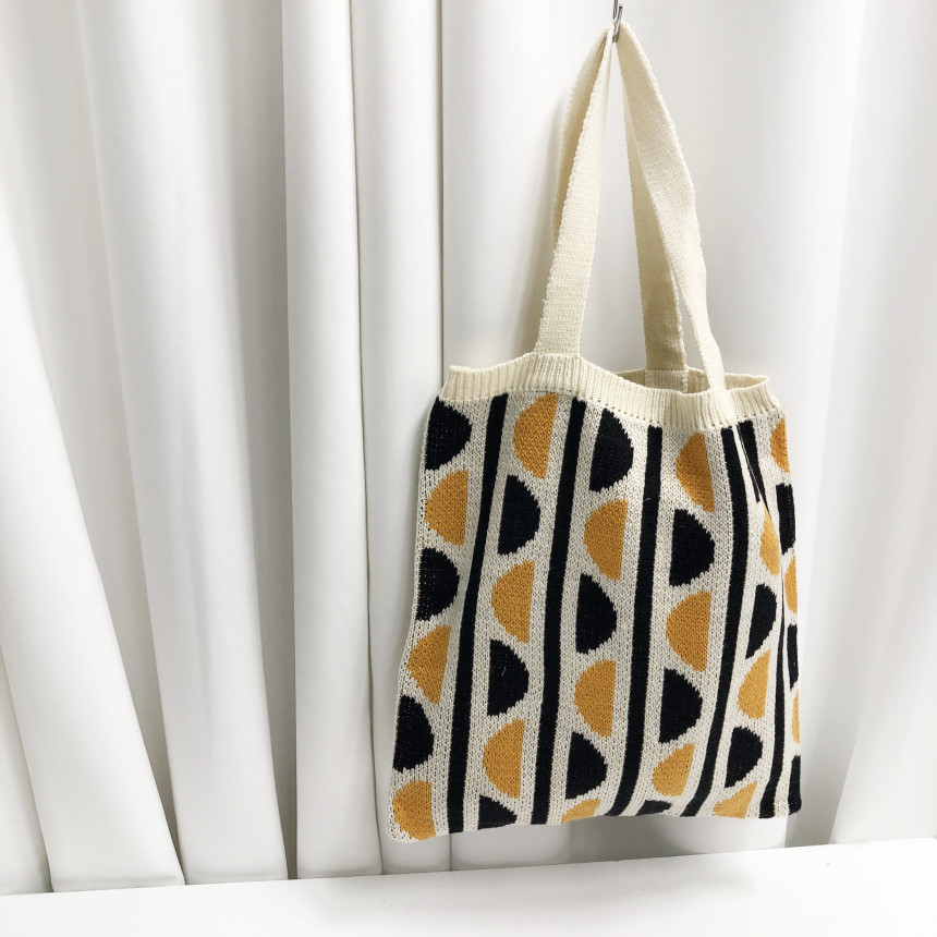 여성 가방 복고풍 니트 뜨개질 짜임 반원 패턴 에코백