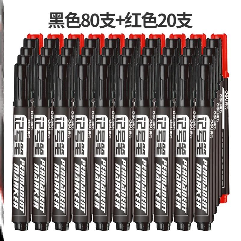 매직 유성마커펜 공업 물빠짐없음 펜대 초필 마카 페인트덧칠펜 방수 타이어 펜, T03-L37-(블랙)80개+(레드)20개