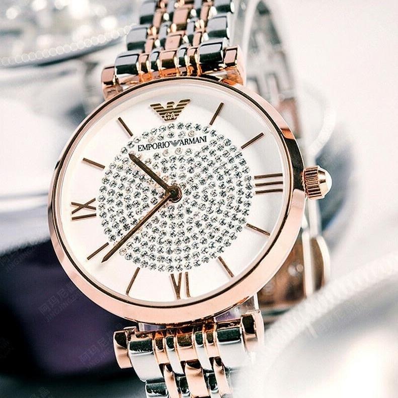 엠포리오 아르마니 영국직배송 AR1926 크리스탈 실버 로즈골드 투톤 여성패션 럭셔리 손목시계 여성인기시계