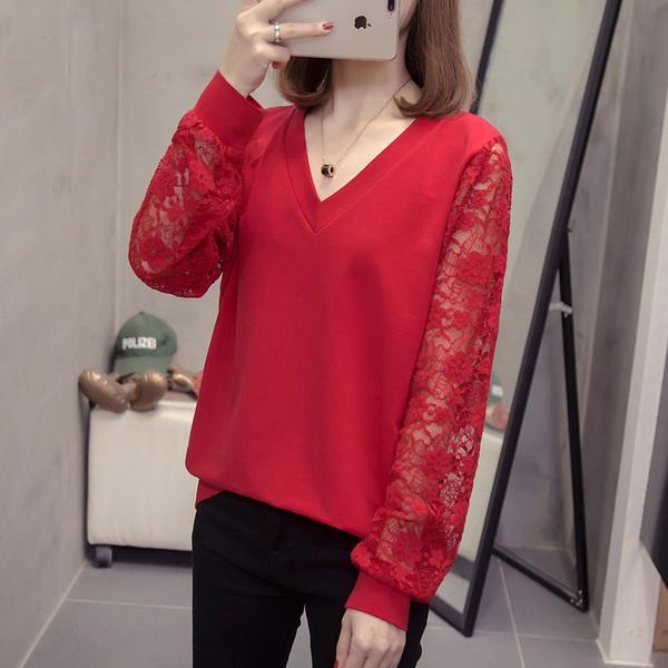 SH 서현 여성 빅사이즈 섹시 소매 플라워 시스루 브이넥 긴팔 티셔츠-226 티셔츠