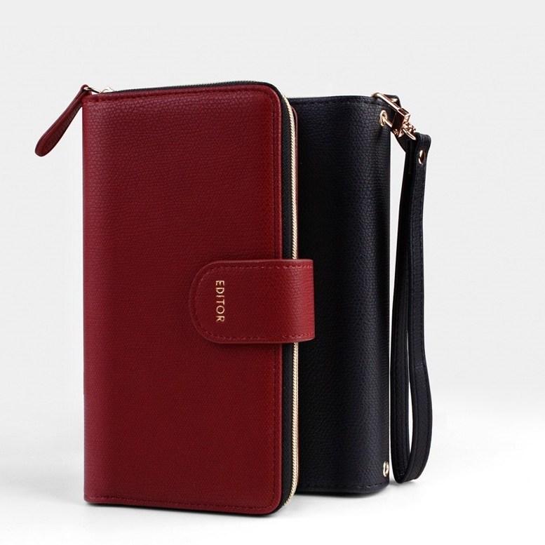 에디터 지퍼 다이어리 케이스 LG Q92 휴대폰