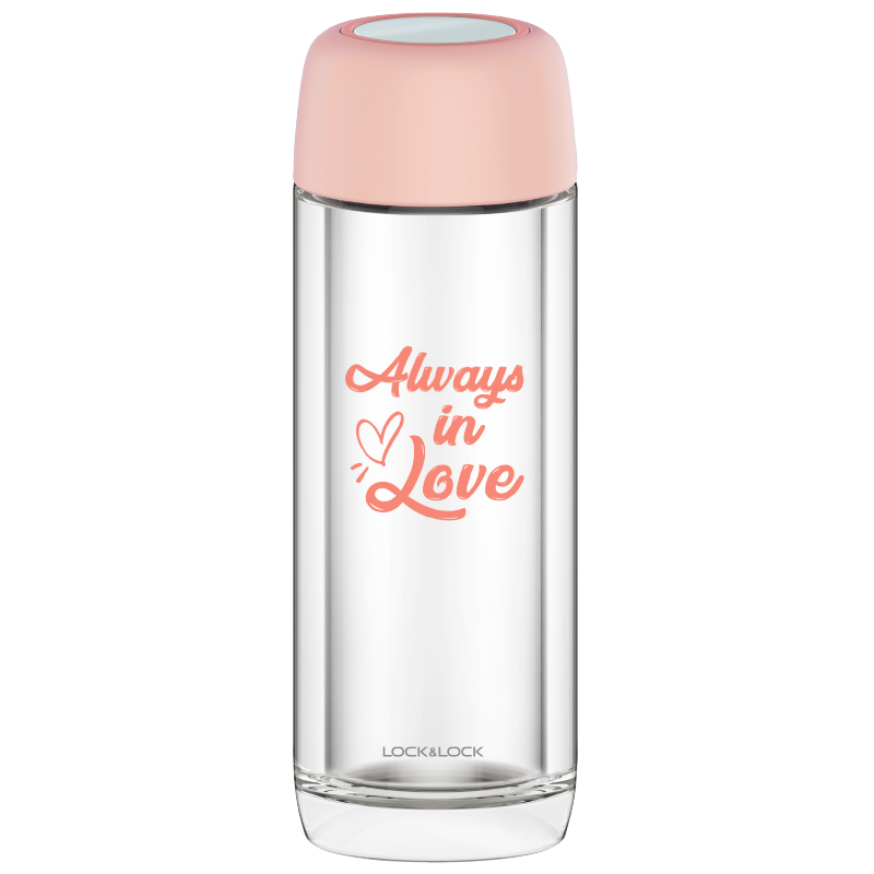 락앤락 단추 마카 용색 더블레이어 내열 워셔액 컵투명 컵 학생 여성 300MLLLG628, 벚꽃 핑크