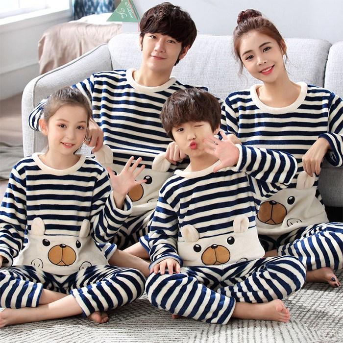 남여아동친자복 잠옷 코럴기모 가족3인 홈웨어 파자마