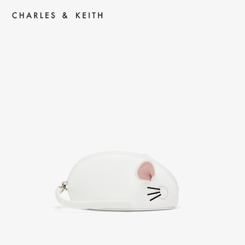 CHARLES & KEITH 2020 봄 품 CK 6 - 30680838 쥐 띠 러 블 리 지퍼 제로 지갑 화이트 XS