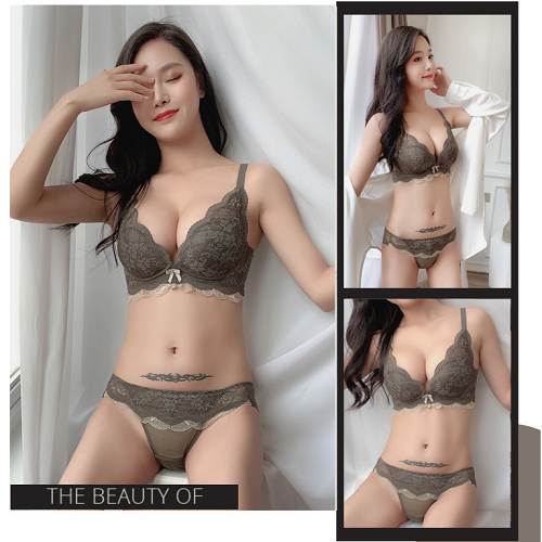 패션강자몬스터 자수 레이스 예쁜여성스러운 속옷세트 와이어 브라 팬티세트 왕뽕브라 빅사이즈속옷